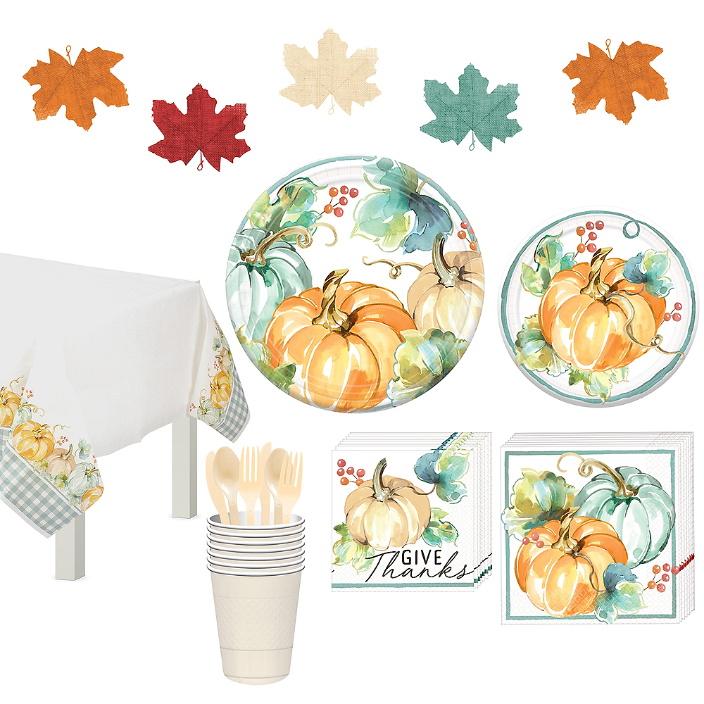 Painted Fall Tableware Kit for 16 Guests Image #1