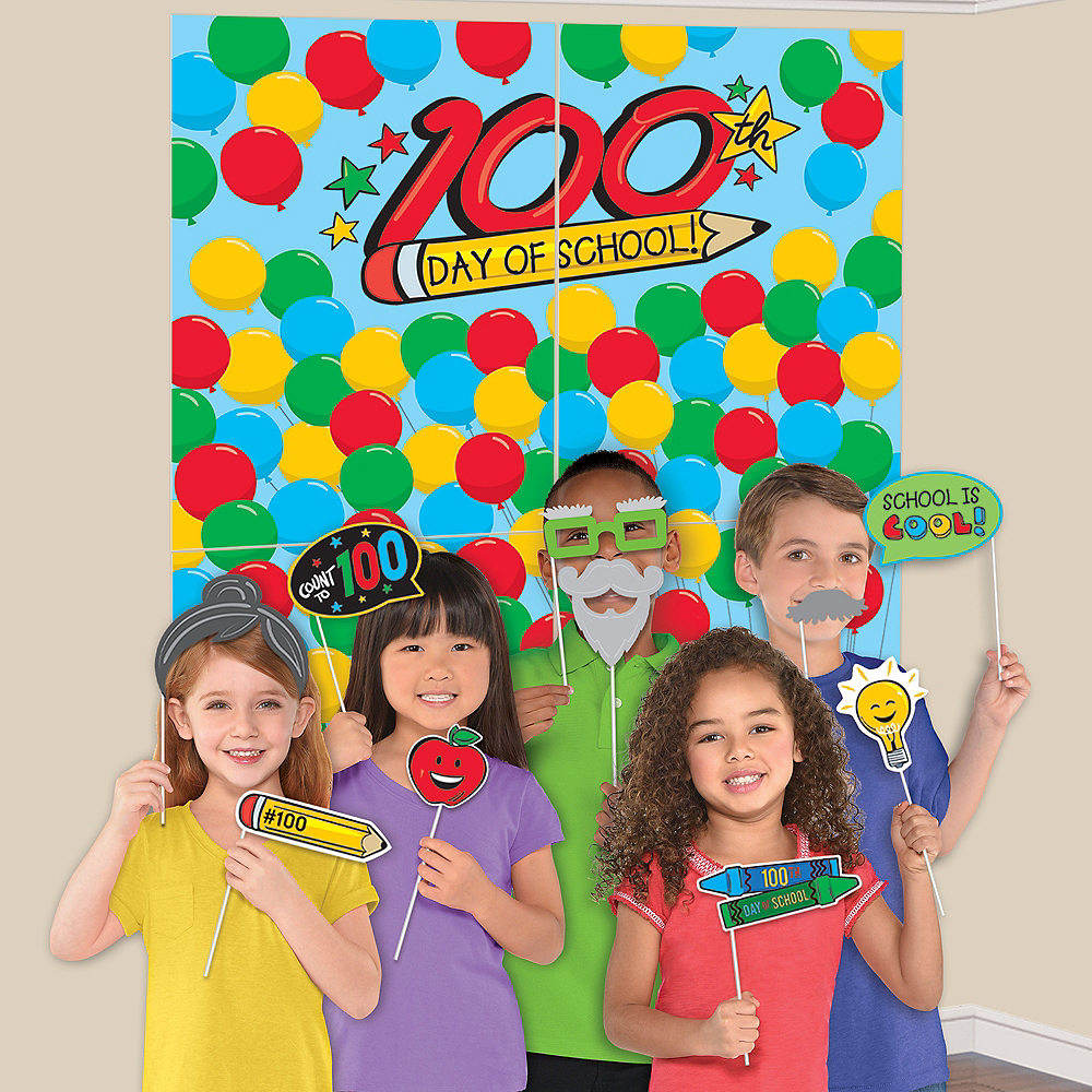 100 Days of School Scene Setter with Photo Booth Props Image #1