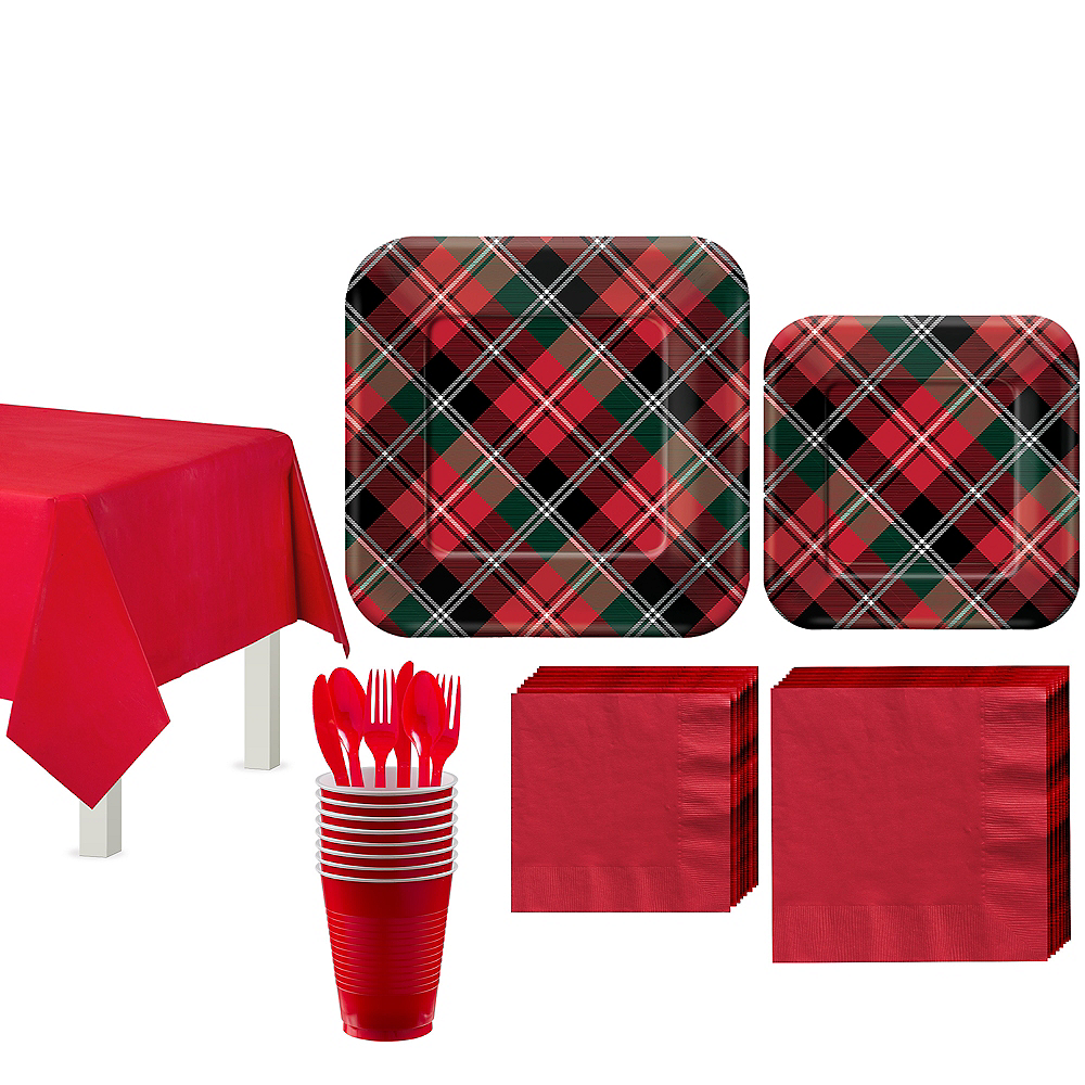 Holiday Plaid Tableware Kit for 40 Guests Image #1
