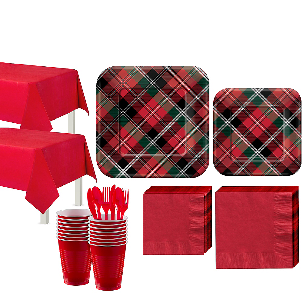Holiday Plaid Tableware Kit for 80 Guests Image #1