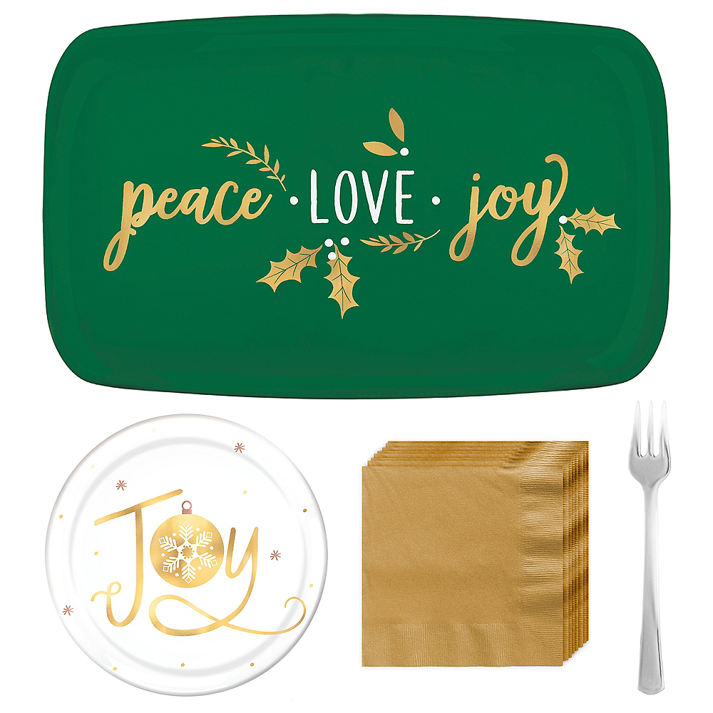 Metallic Peace, Love, Joy Appetizer Kit for 12 Image #1