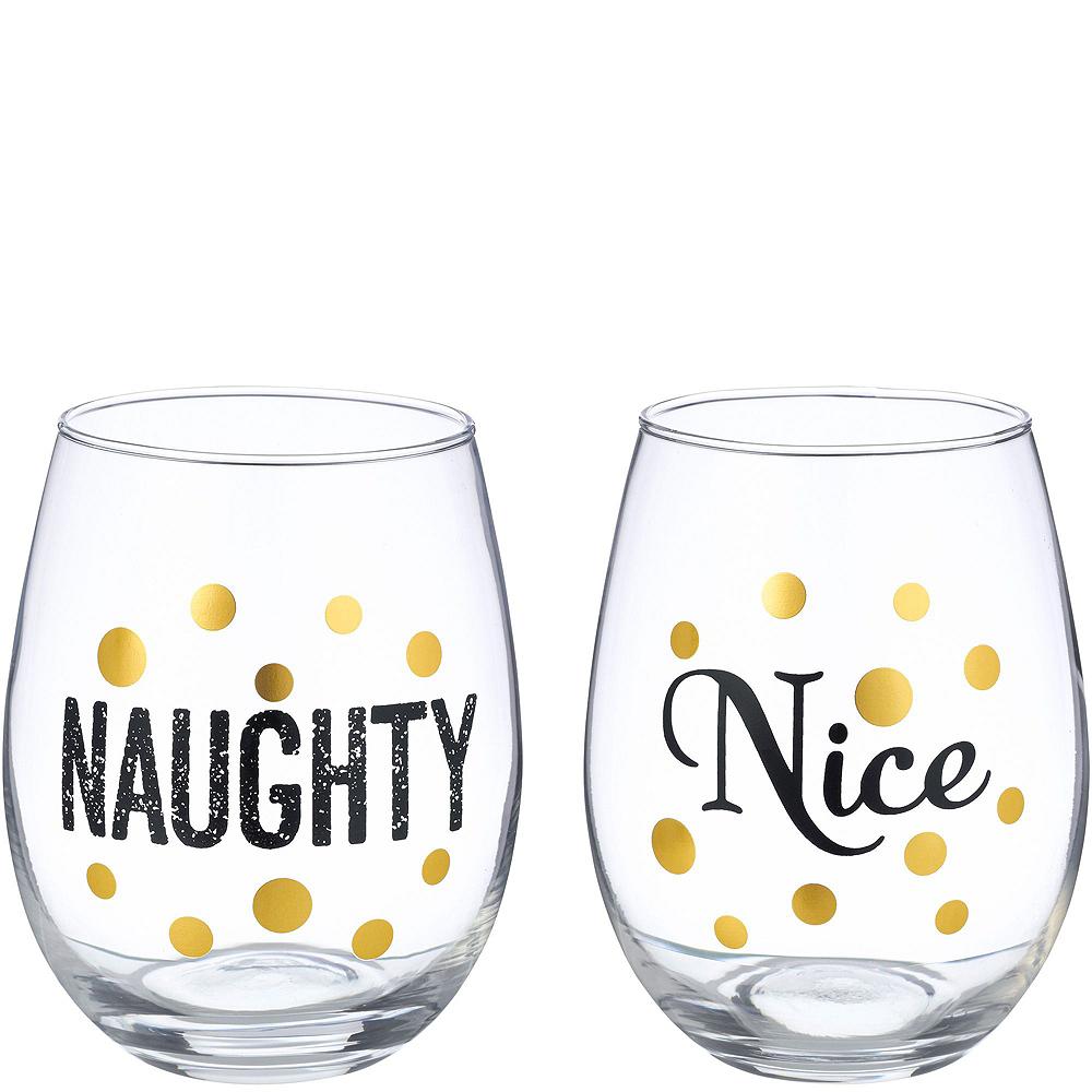 Naughty & Nice Stemless Wine Glass Christmas Gift Kit Image #3