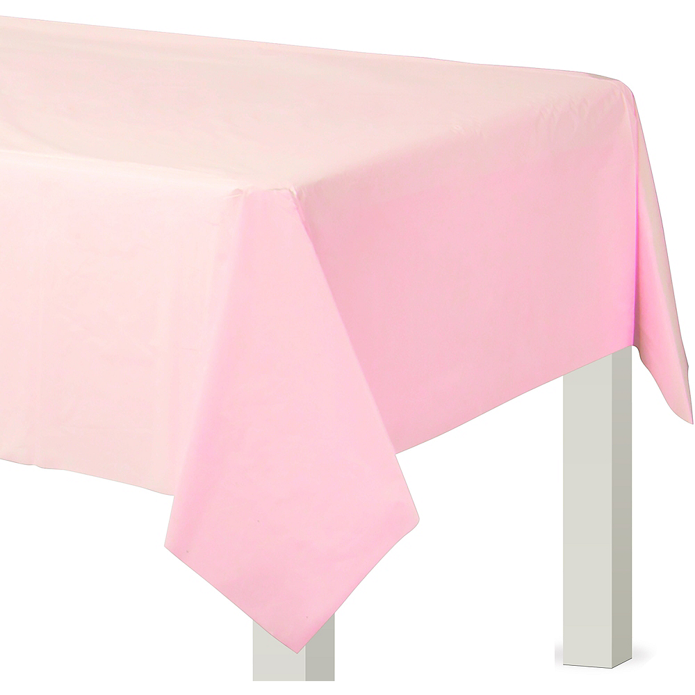 Blush Pink Plastic Table Cover Image #1
