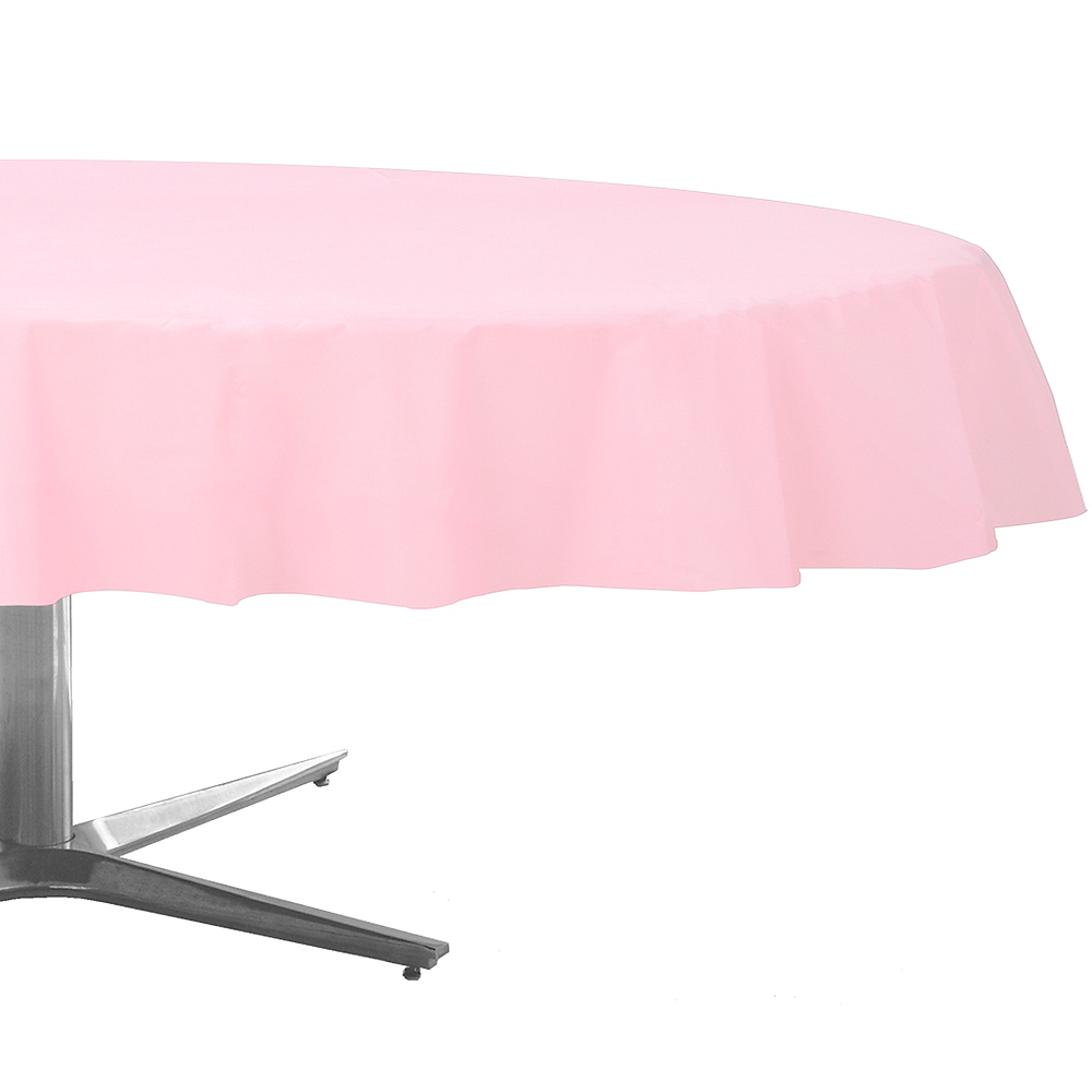 Blush Pink Plastic Round Table Cover Image #1