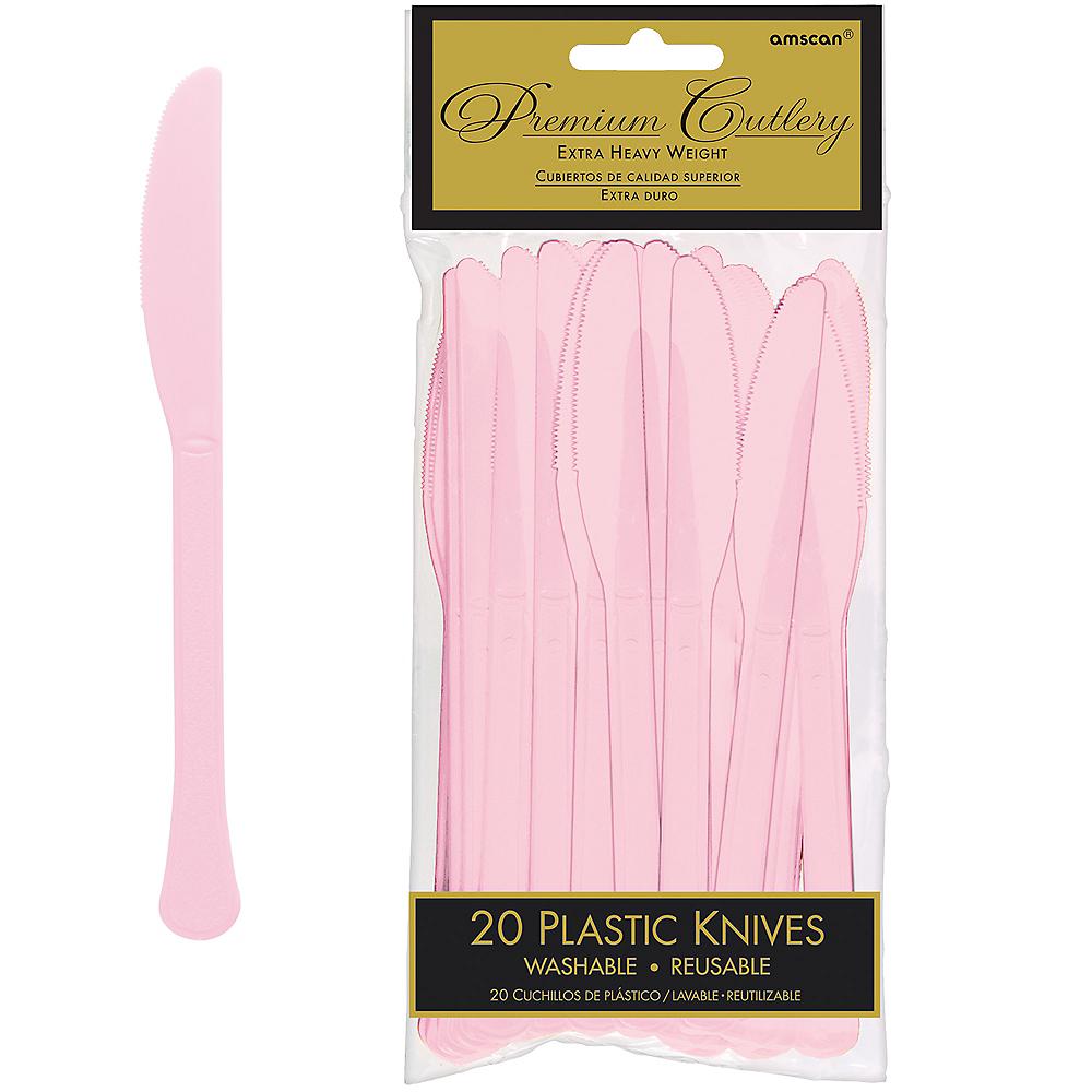 Blush Pink Premium Plastic Knives 20ct Image #1