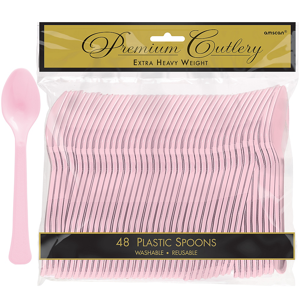 Nav Item for Blush Pink Premium Plastic Spoons 48ct Image #1