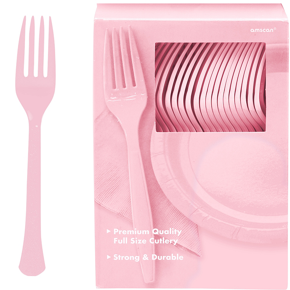 Big Party Pack Blush Pink Premium Plastic Forks 100ct Image #1