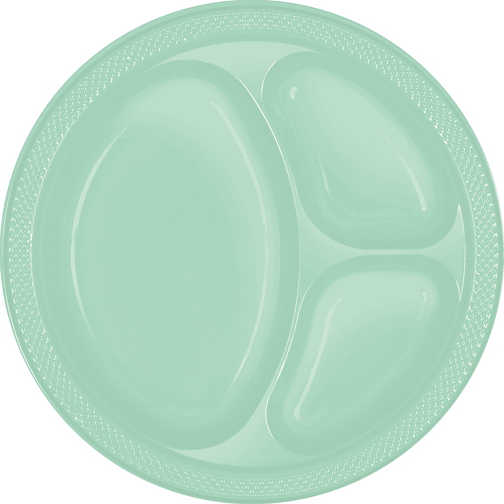 Cool Mint Plastic Divided Dinner Plates 20ct Image #1
