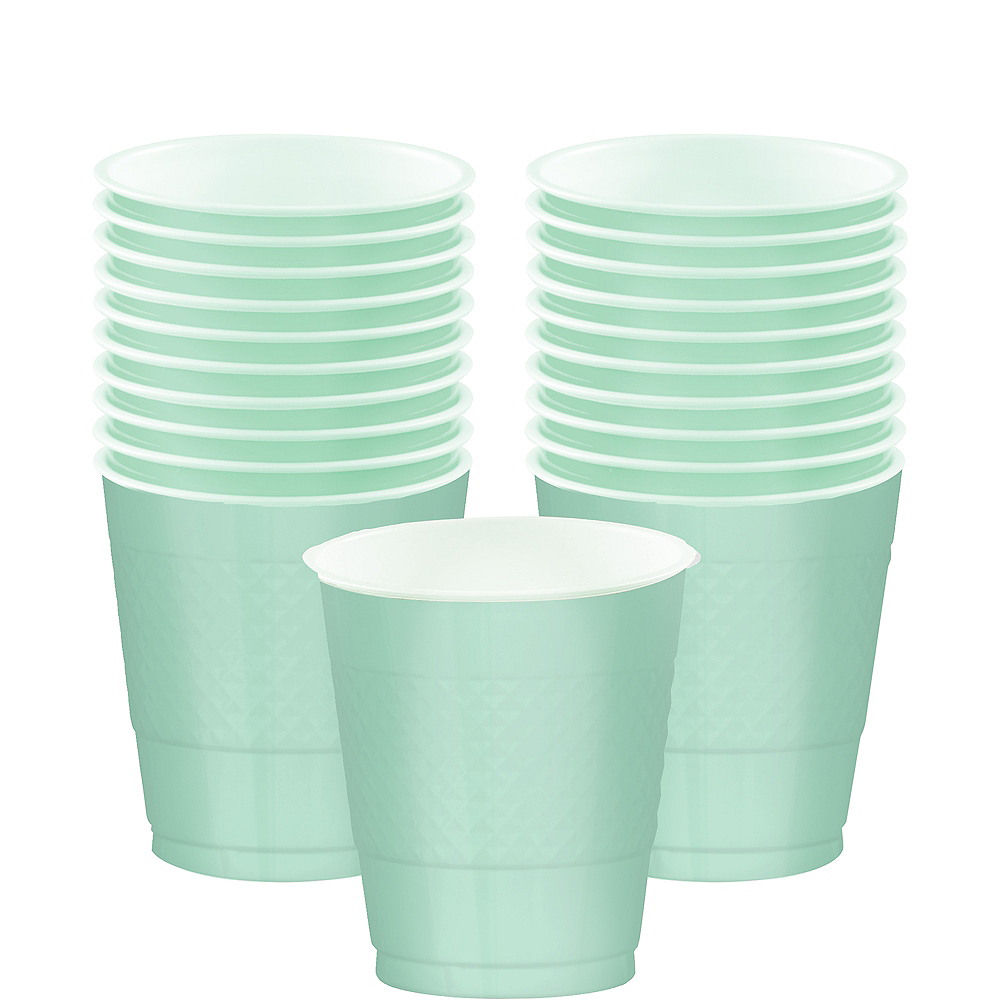 Cool Mint Plastic Cups 20ct Image #1