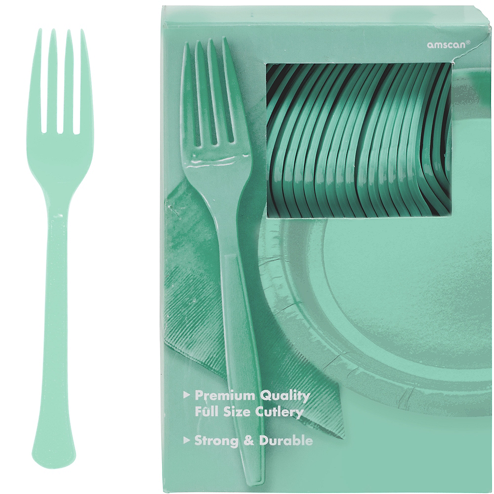 Big Party Pack Cool Mint Premium Plastic Forks 100ct Image #1