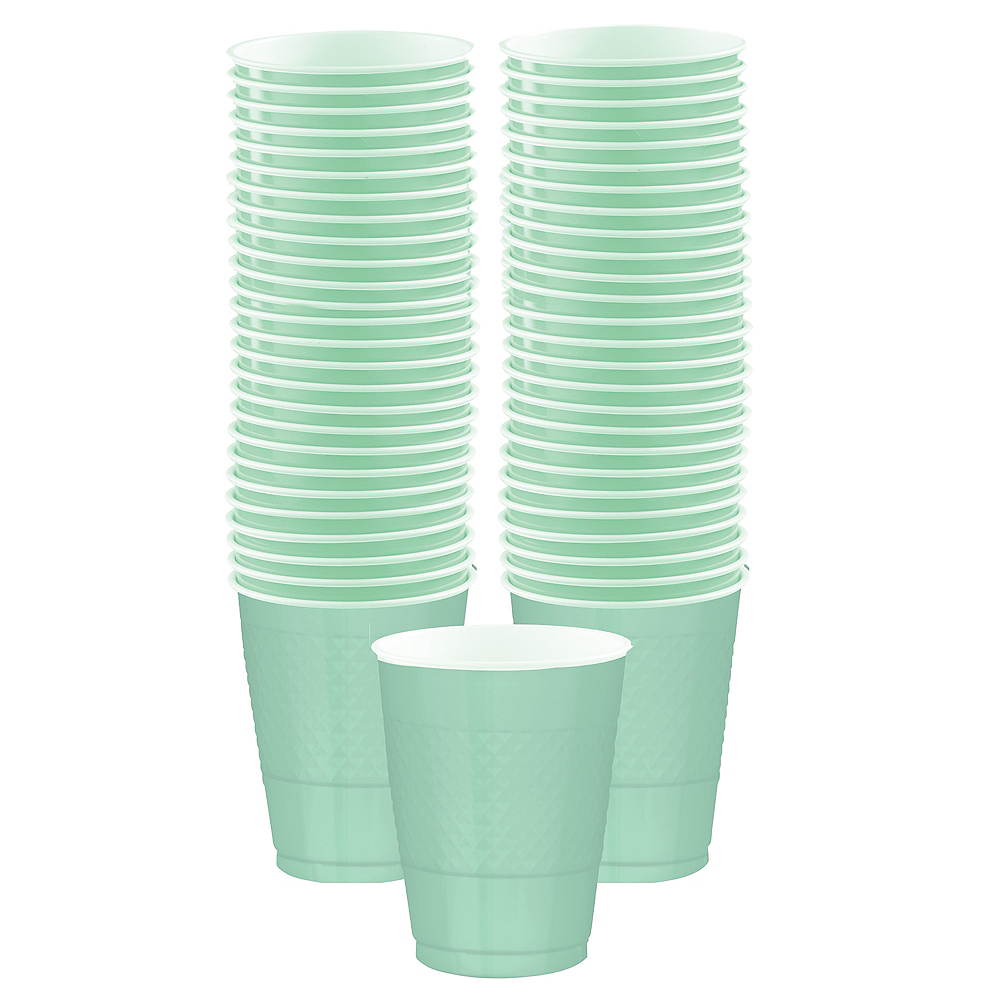 Cool Mint Plastic Cups, 16oz, 50ct Image #1
