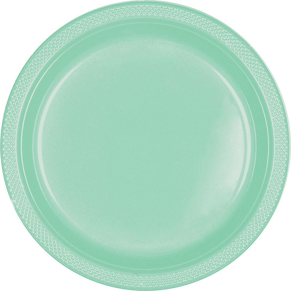 Big Party Pack Cool Mint Plastic Dinner Plates 50ct Image #1