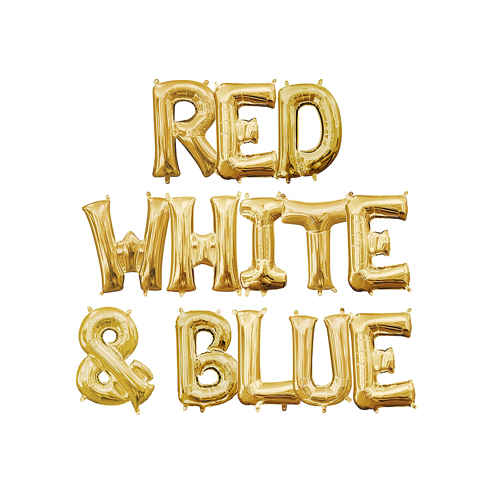 13in Air-Filled Gold Red, White & Blue Letter Balloon Kit Image #1