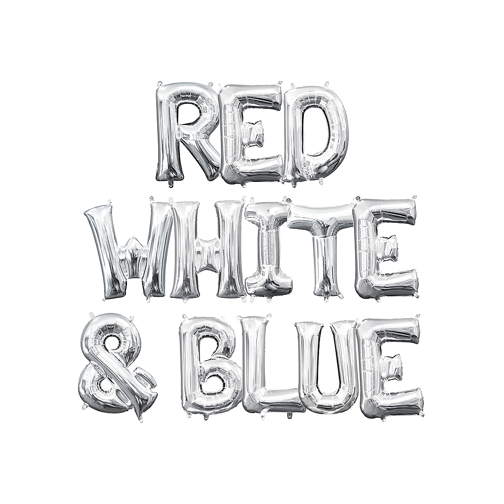 13in Air-Filled Silver Red, White & Blue Letter Balloon Kit Image #1