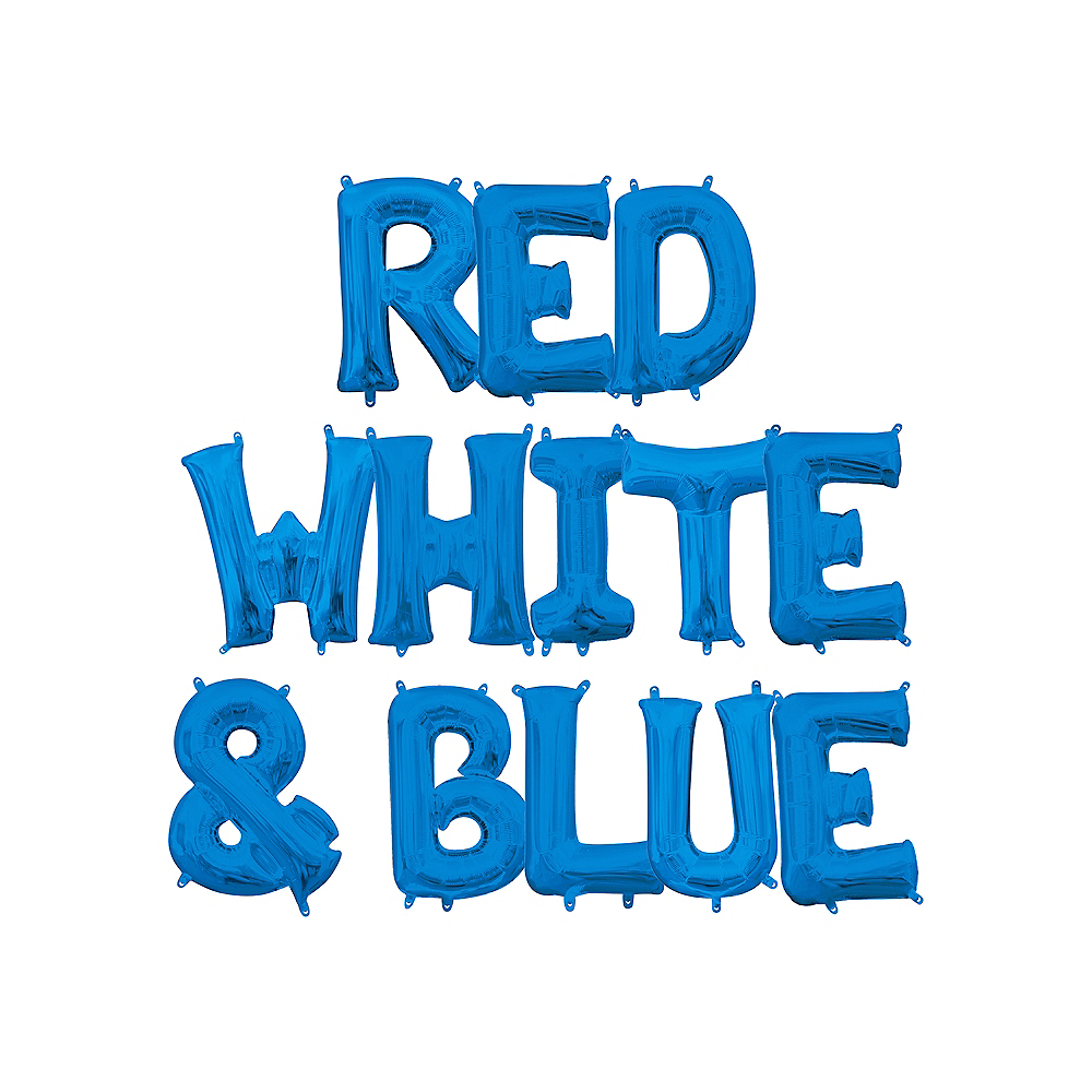 13in Air-Filled Blue Red, White & Blue Letter Balloon Kit Image #1