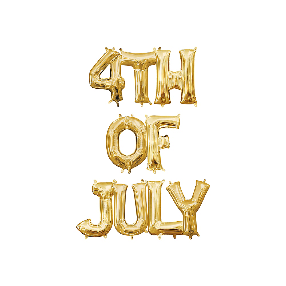 13in Air-Filled Gold 4th of July Letter Balloon Kit Image #1