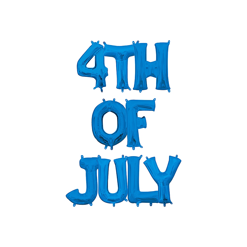 13in Air-Filled Blue 4th of July Letter Balloon Kit Image #1