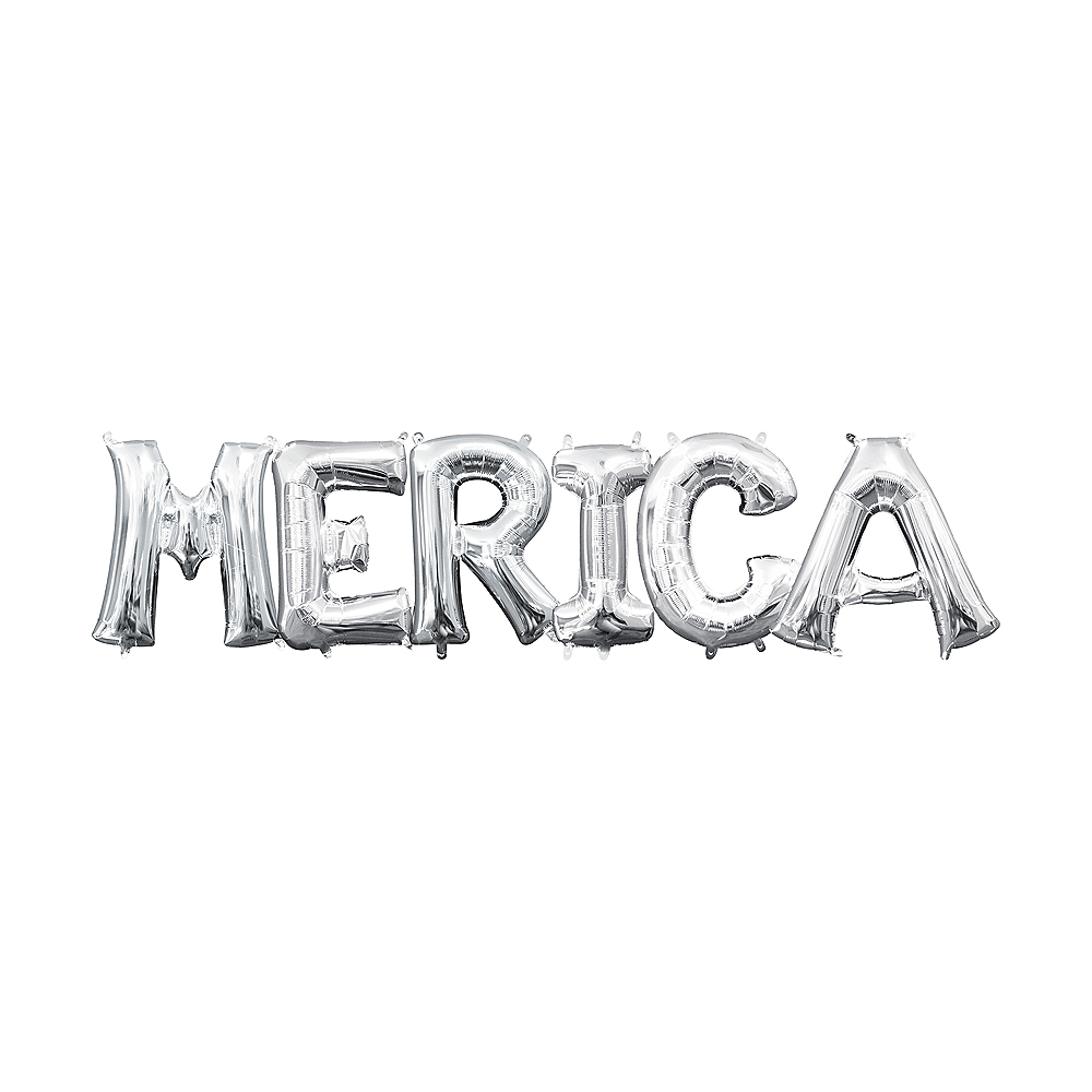 13in Air-Filled Silver 'Merica Letter Balloon Kit Image #1