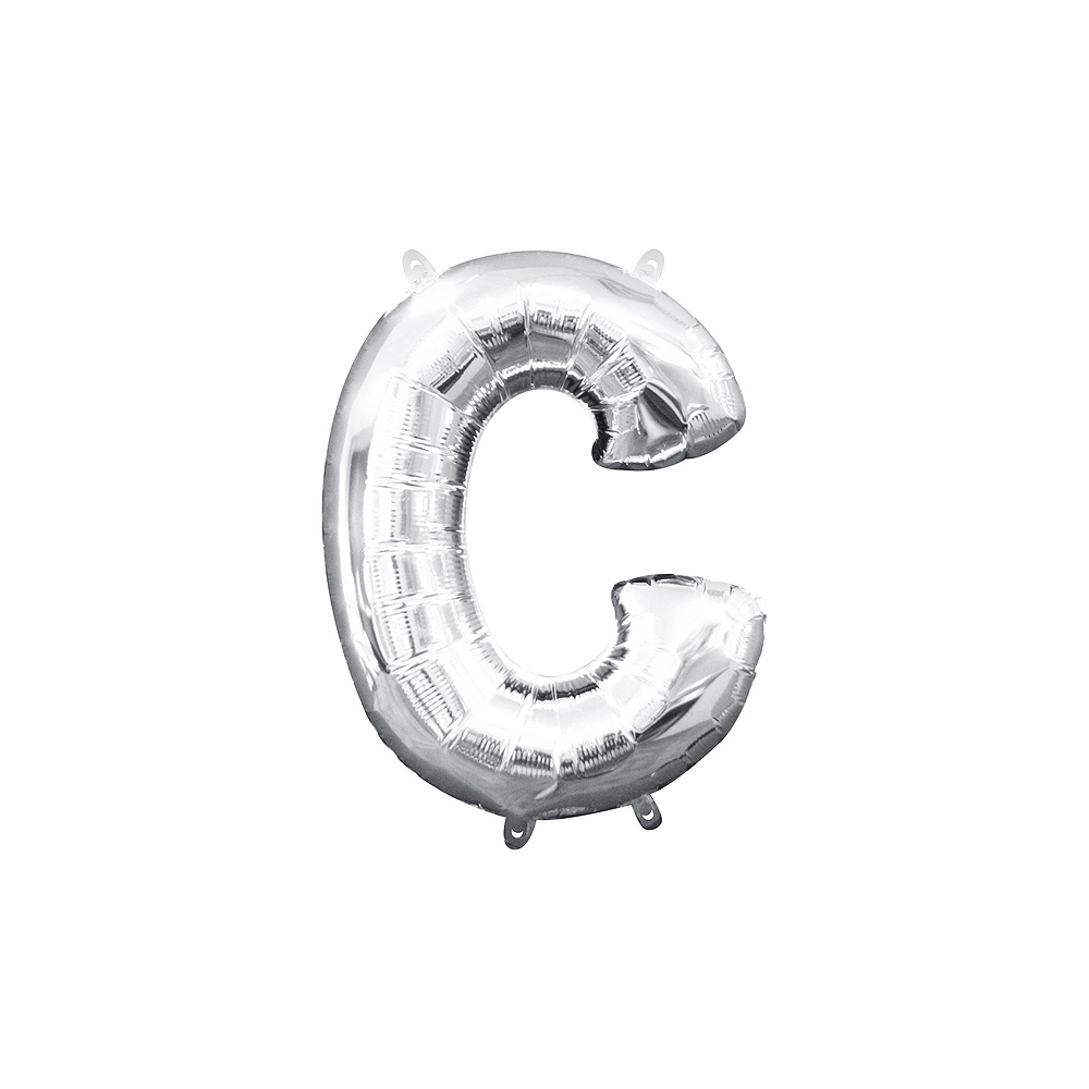 13in Air-Filled Silver 'Merica Letter Balloon Kit Image #3