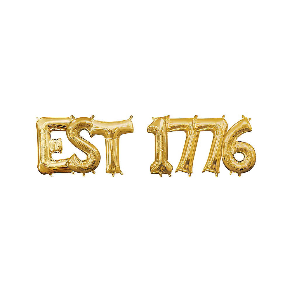 13in Air-Filled Gold Est 1776 Letter Balloon Kit Image #1