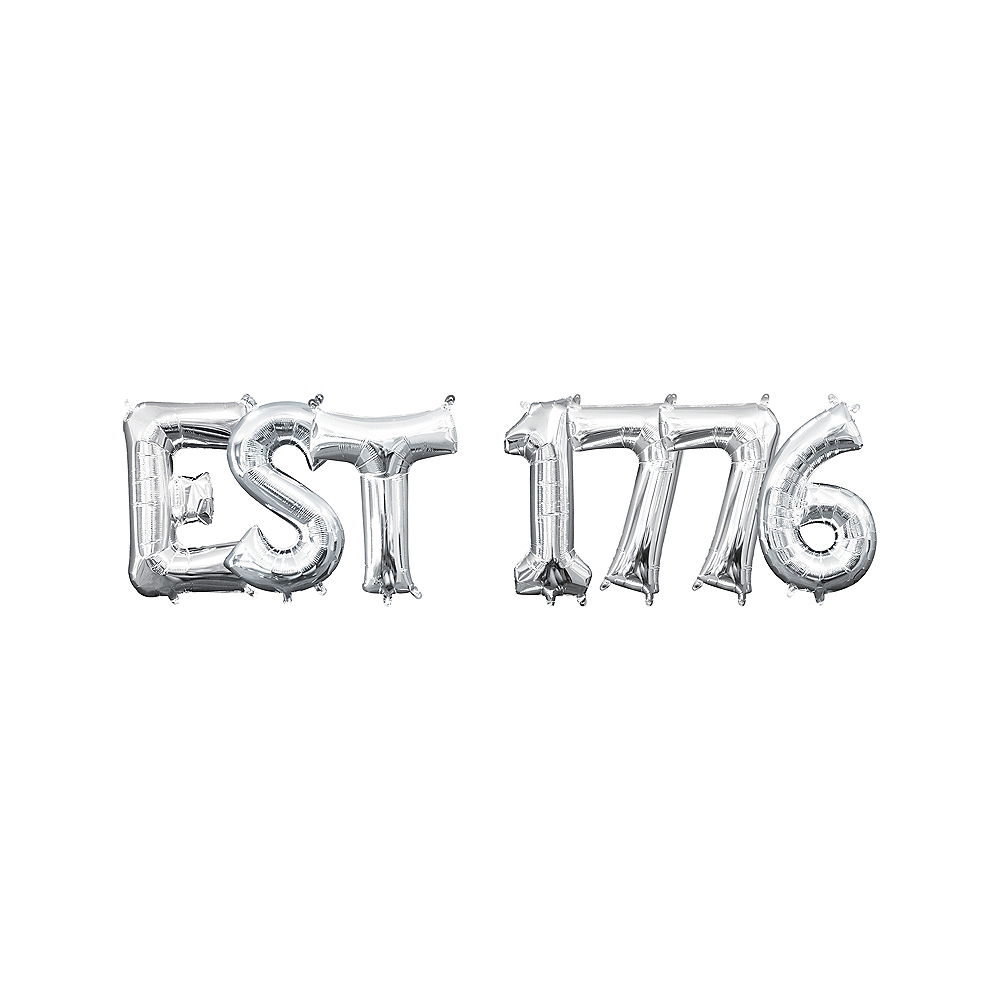 13in Air-Filled Silver Est 1776 Letter Balloon Kit Image #1