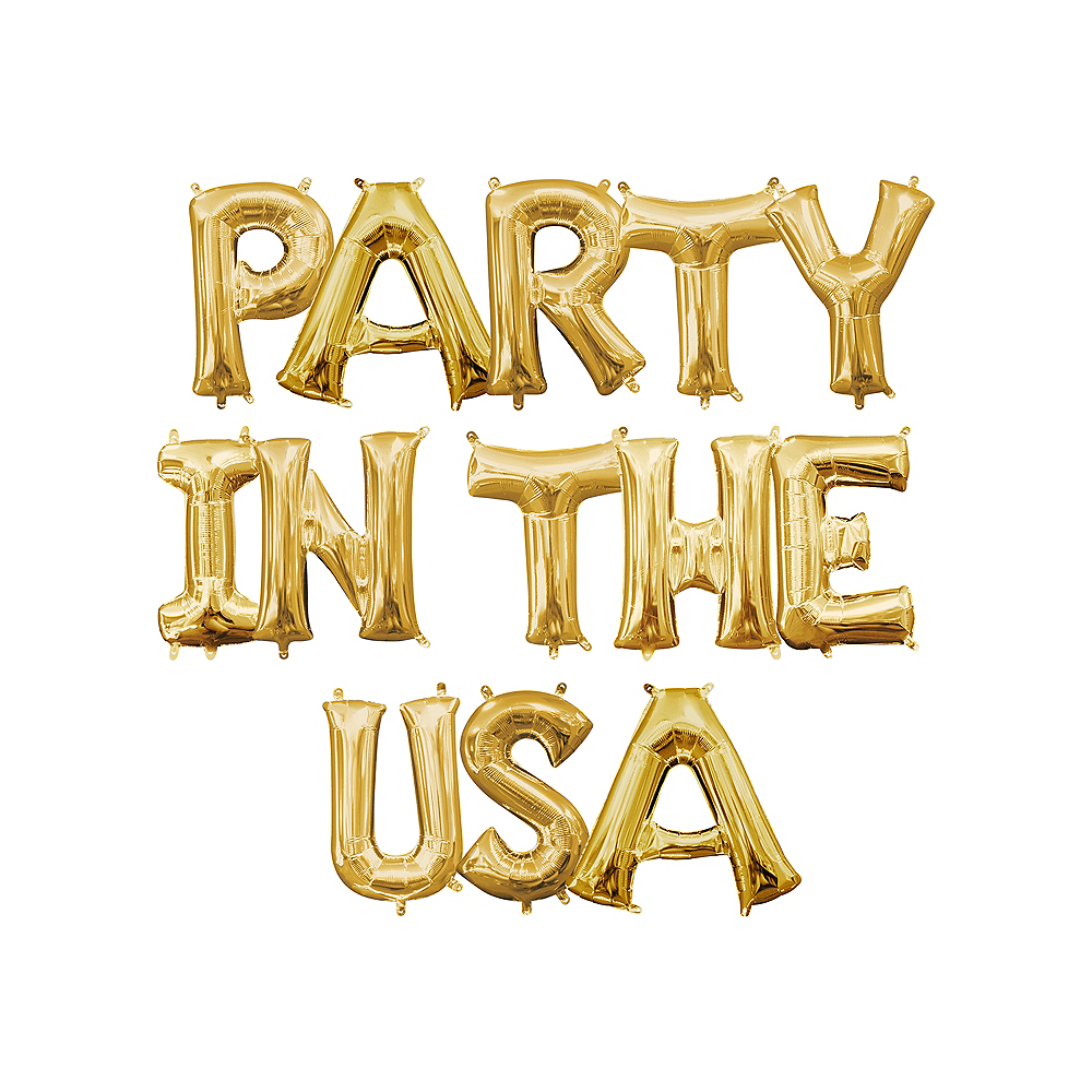 13in Air-Filled Gold Party In The USA Letter Balloon Kit Image #1