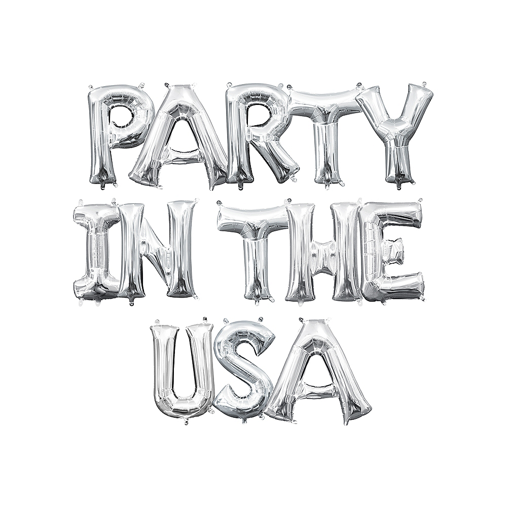 13in Air-Filled Silver Party In The USA Letter Balloon Kit Image #1