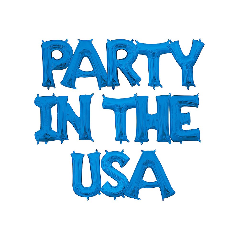 13in Air-Filled Blue Party In The USA Letter Balloon Kit Image #1
