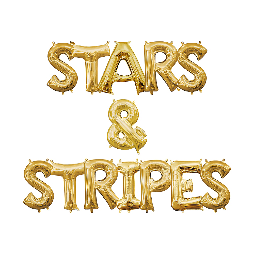 13in Air-Filled Gold Stars & Stripes Letter Balloon Kit Image #1