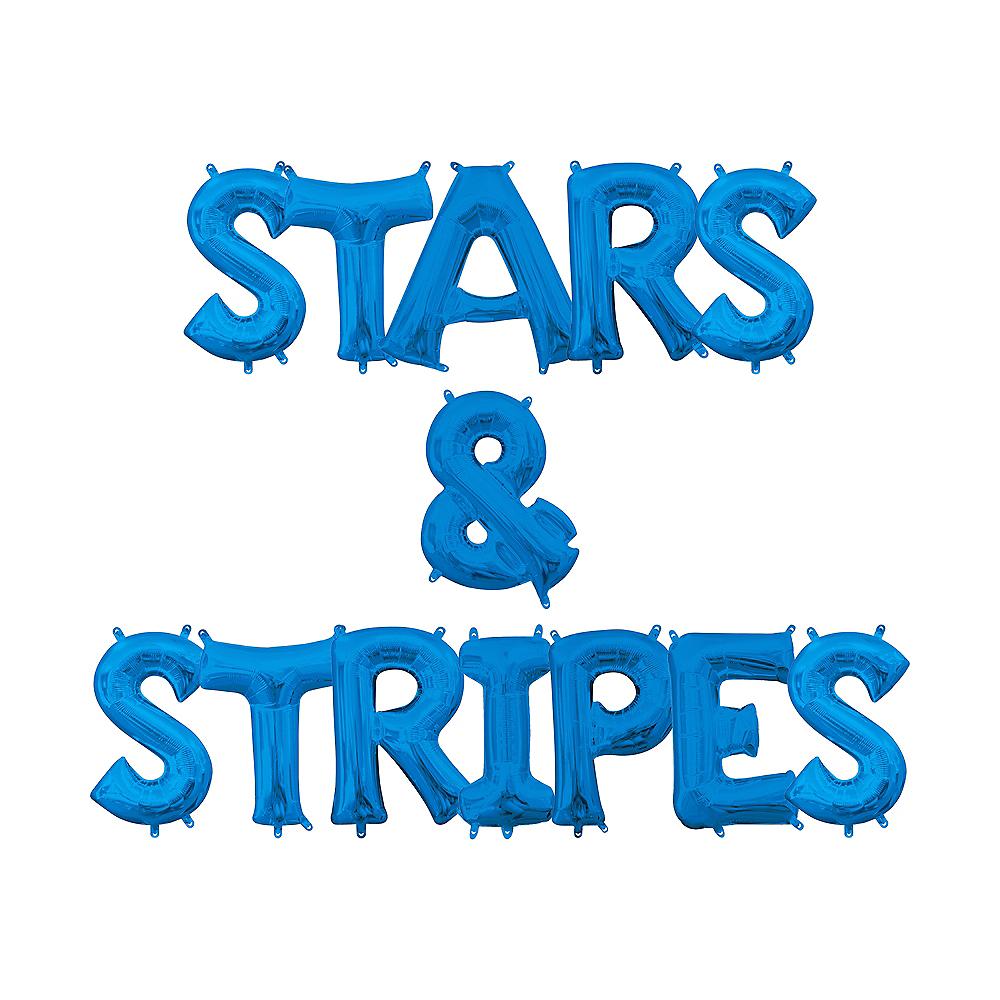 13in Air-Filled Blue Stars & Stripes Letter Balloon Kit Image #1