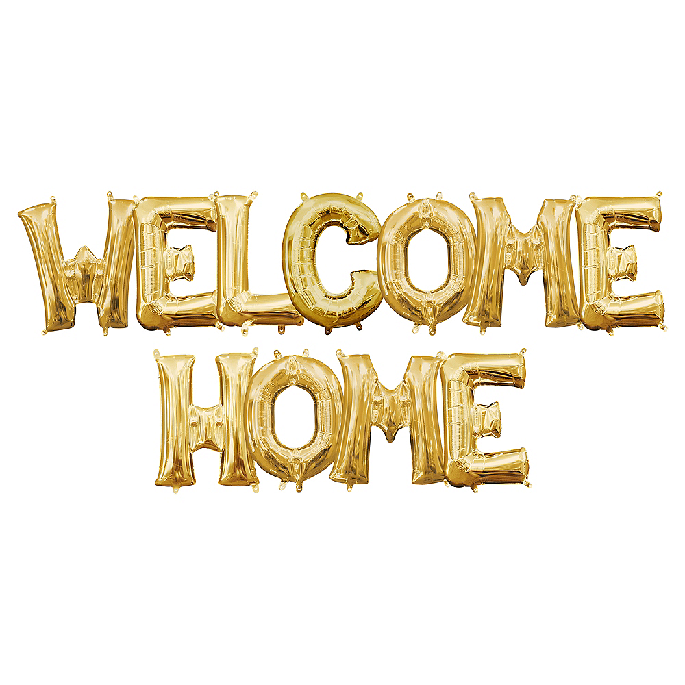 13in Air-Filled Gold Welcome Home Letter Balloon Kit Image #1