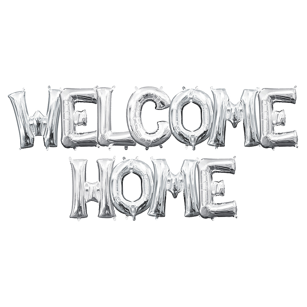 13in Air-Filled Silver Welcome Home Letter Balloon Kit Image #1