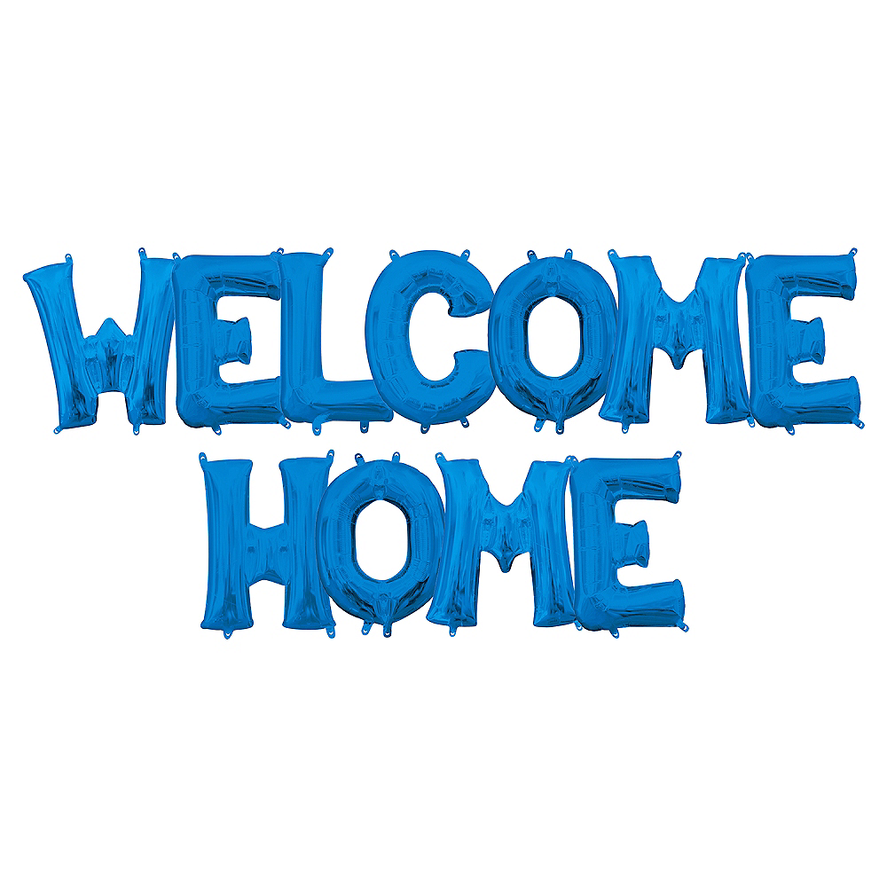 13in Air-Filled Blue Welcome Home Letter Balloon Kit Image #1