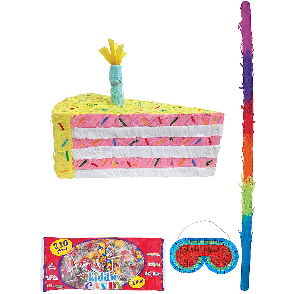 Cake Slice Pinata with Candy Image #1