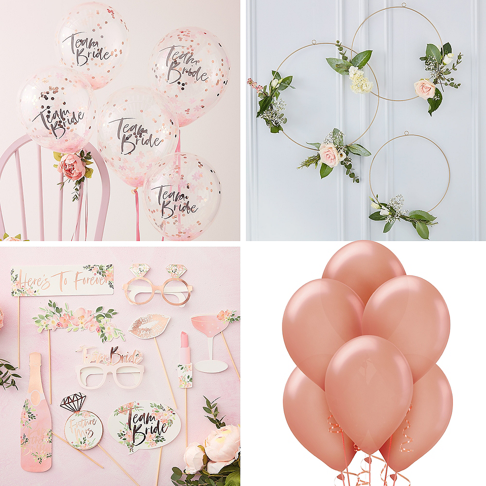 Metallic Rose Gold Floral Bridal Shower Photo Booth Kit Party City