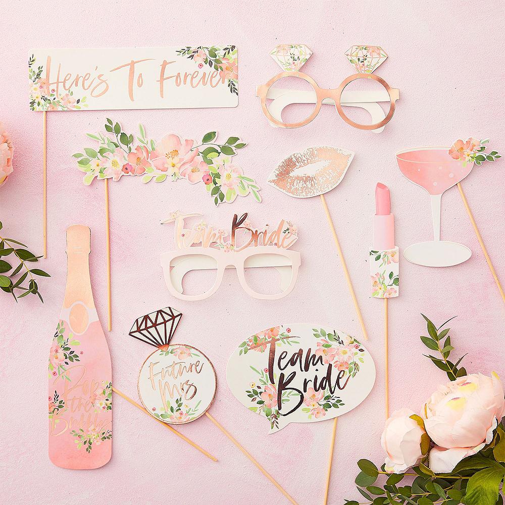 Metallic Rose Gold Floral Bridal Shower Photo Booth Kit Image #3