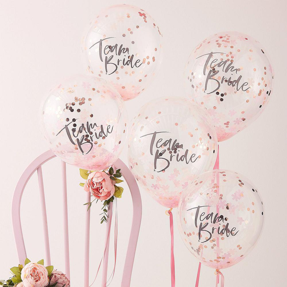 Metallic Rose Gold Floral Bridal Shower Photo Booth Kit Image #4