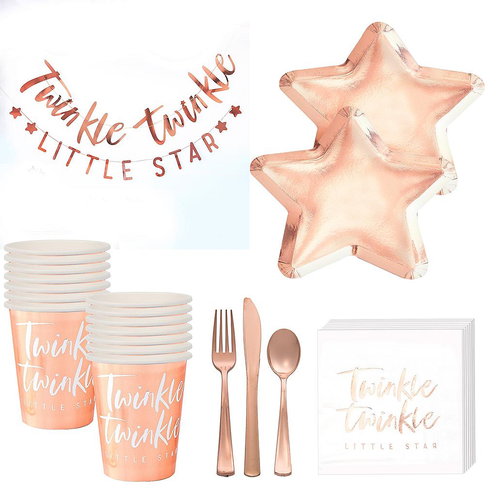 Metallic Rose Gold Twinkle Twinkle Baby Shower Tableware Kit Image #1