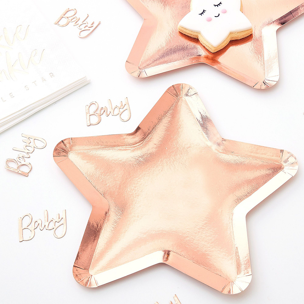 Metallic Rose Gold Twinkle Twinkle Baby Shower Tableware Kit Image #2