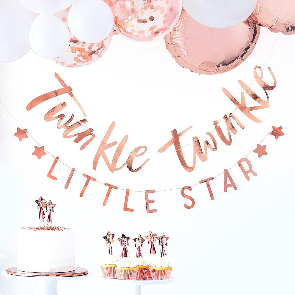 Metallic Rose Gold Twinkle Twinkle Baby Shower Tableware Kit Image #6