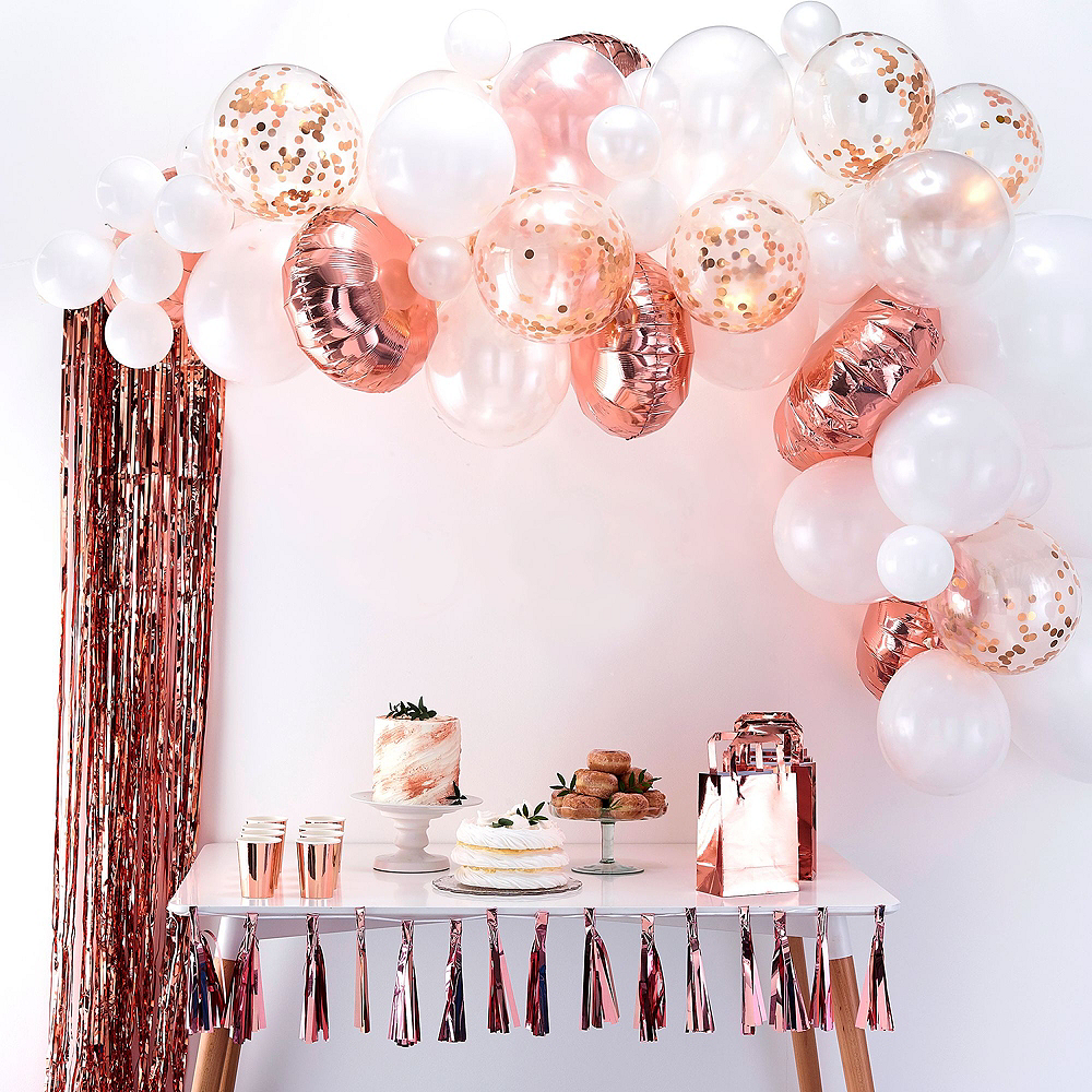 Metallic Rose Gold Floral Bridal Shower Decorating Kit | Party City