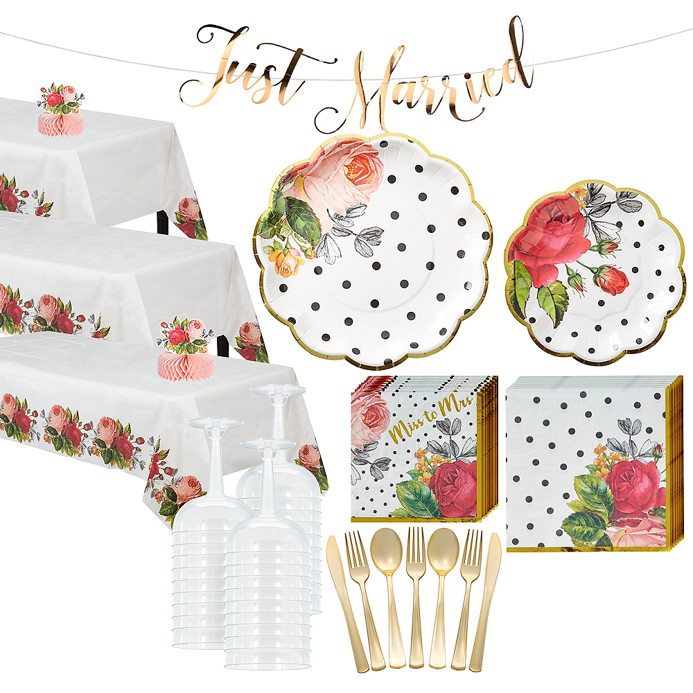 Pop Blush Rose Tableware Kit for 50 Guests Image #1