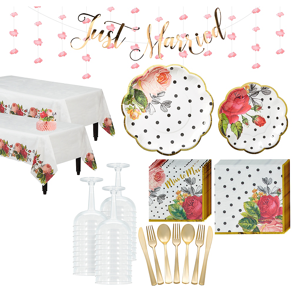 Super Pop Blush Rose Tableware Kit for 32 Guests Image #1
