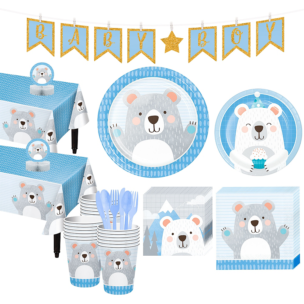 Beary Cute Baby Shower Tableware Kit for 32 Guests Image #1