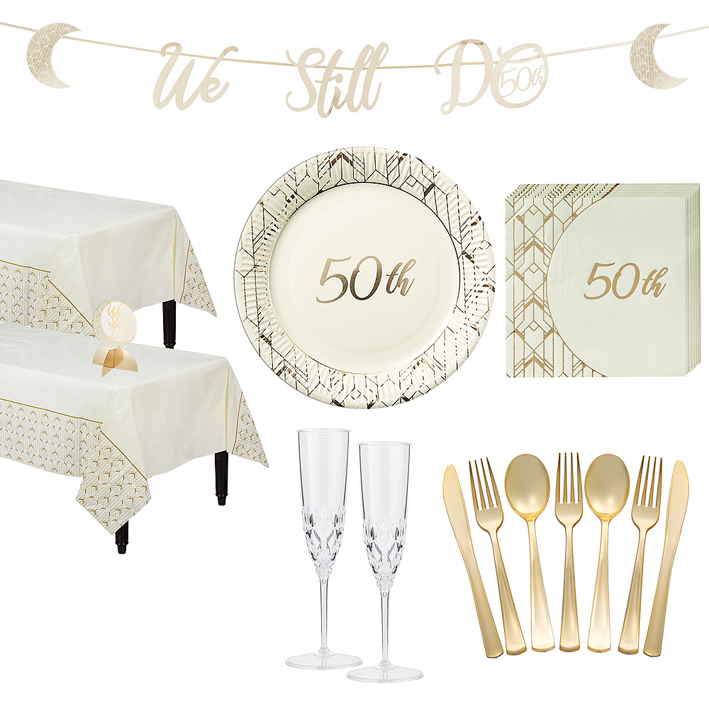 Metallic Gold & White 50th Anniversary Tableware Kit for 50 Guests Image #1