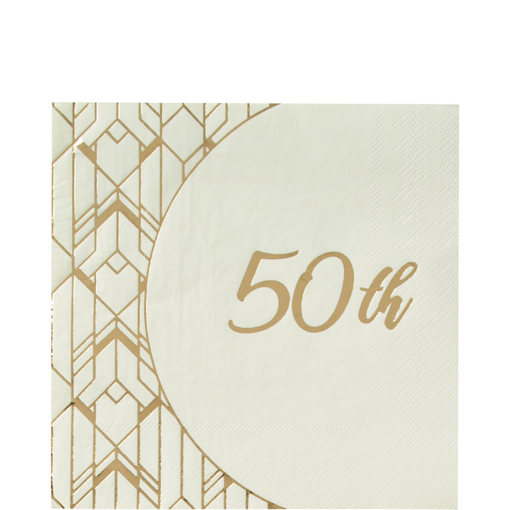 Metallic Gold & White 50th Anniversary Tableware Kit for 50 Guests Image #3