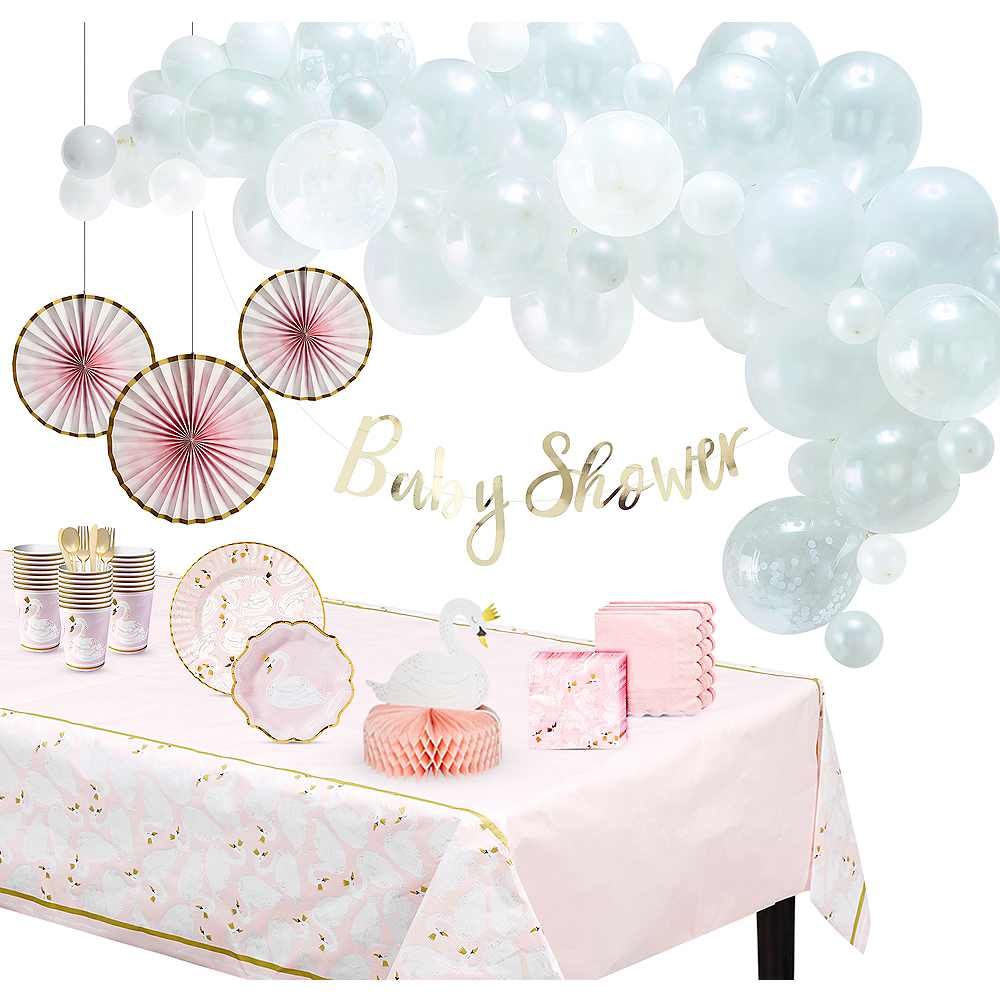 Swan Baby Shower Party Kit for 32 Guests Image #1