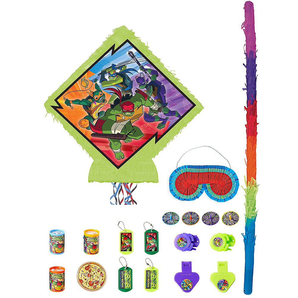 Pull String Rise of the Teenage Mutant Ninja Turtles Pinata Kit with Favors Image #1