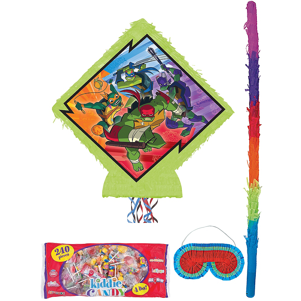 Pull String Rise of the Teenage Mutant Ninja Turtles Pinata Kit with Candy Image #1