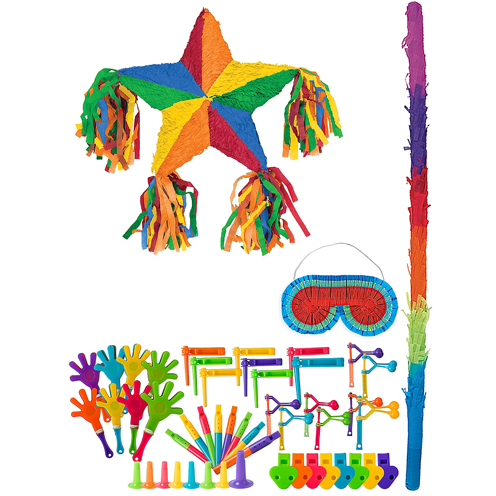 Rainbow Star Pinata Kit with Favors Image #1